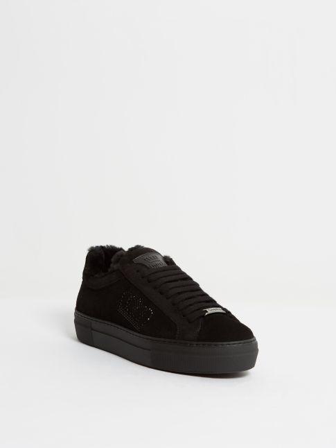 Kingsley Moroni Sneakers Swarovski with Sheepskin sensory black, black front view