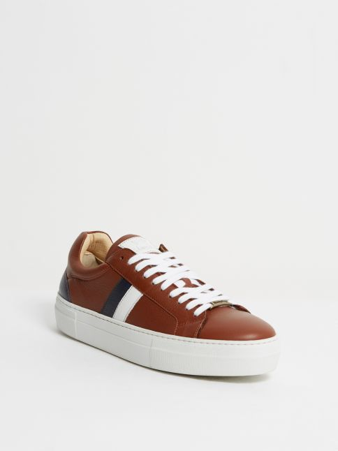 Kingsley Star Sneakers madonna cognac, branco azul front view