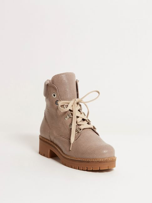 Kingsley Regina A Biker Boot Lizzard Taupe front view