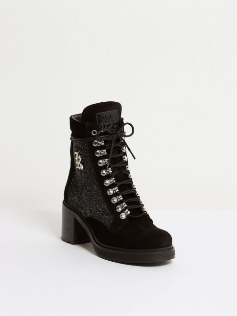 Kingsley Sandra Short Boot stardust black, suede black front view