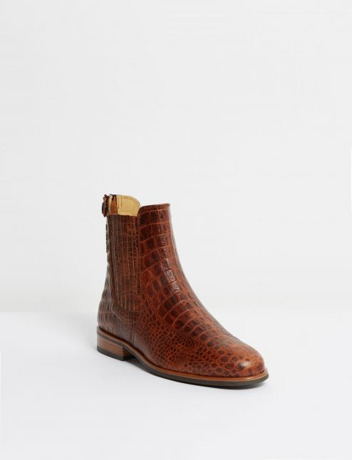 Kingsley Berlin Chelsea Boots alligator brown front view