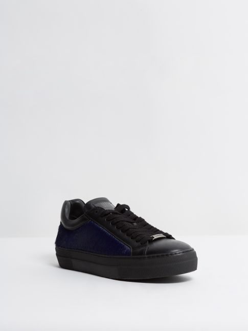 Kingsley Moroni Sneakers Special Edition black, blue fur front view