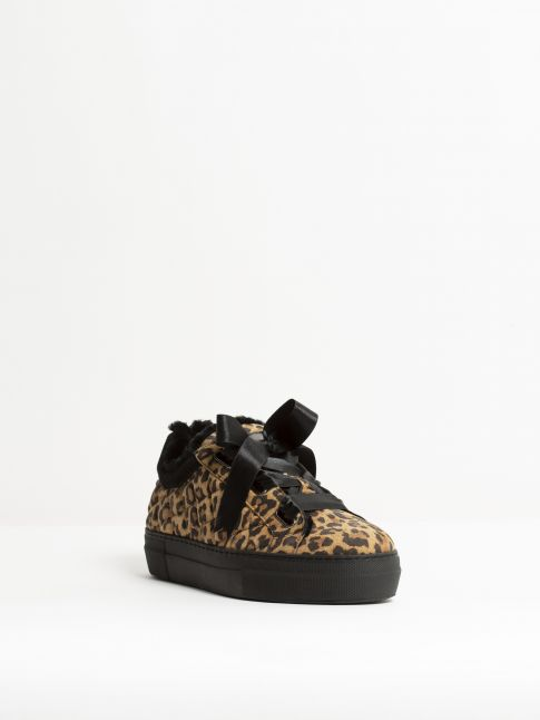 Kingsley Joy Sneakers with Black Sheepskin jaguar front view
