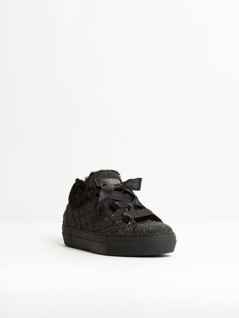 Kingsley Joy Sneakers with Black Sheepskin stardust black front view