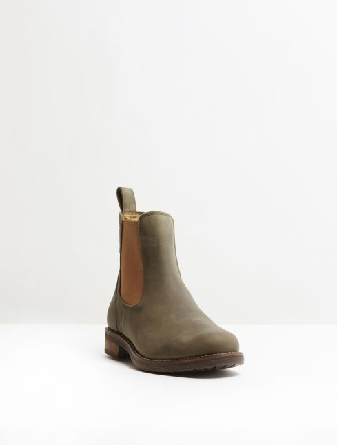 Kingsley Amsterdam Chelsea Boots gaucho green, light brown front view