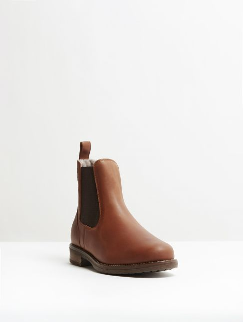 Kingsley Amsterdam Chelsea Boots With Taupe Sheepskin gaucho chestnut, brown front view