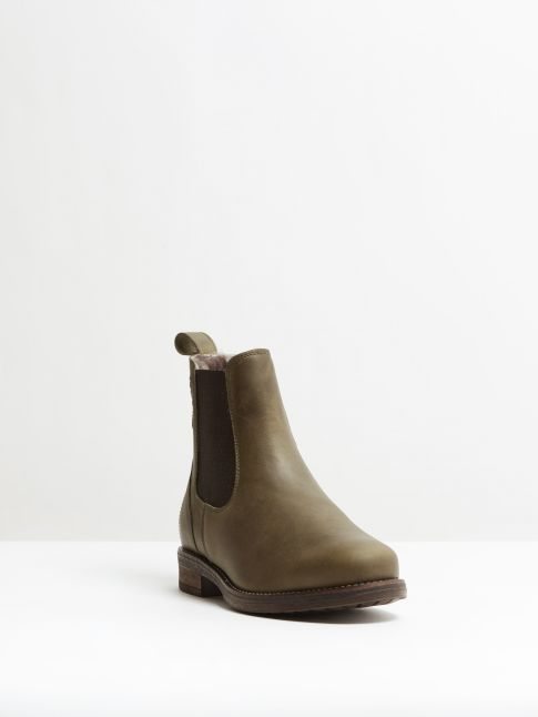 Kingsley Amsterdam Chelsea Boots with Taupe Sheepskin gaucho green, brown front view
