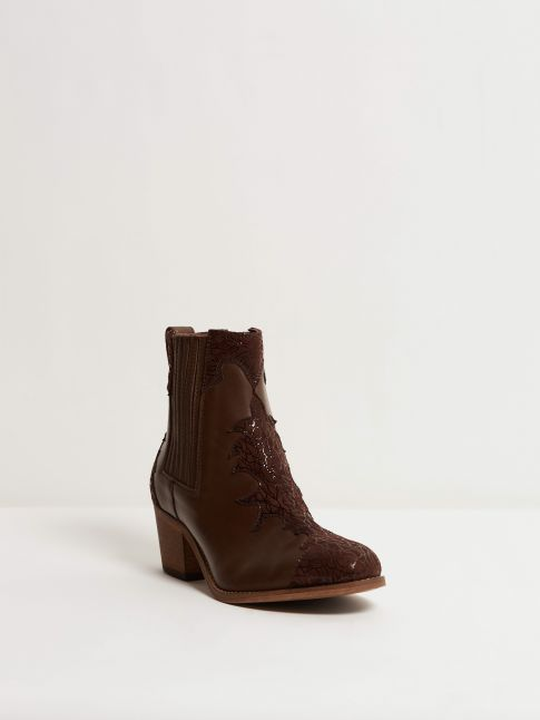 Kingsley Lydia Short Boot cognac cognac cracked suede front view