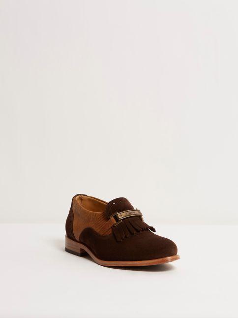 Kingsley Jade College dark brown suede, cognac front view