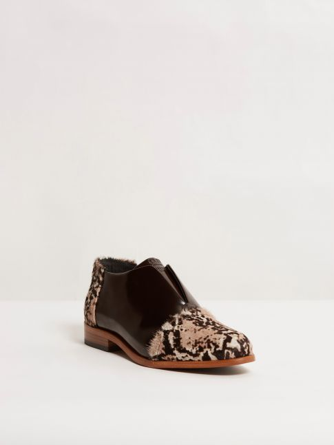 Kingsley Sintra Shoes Limited Edition uragano dark brown, special animal print front view