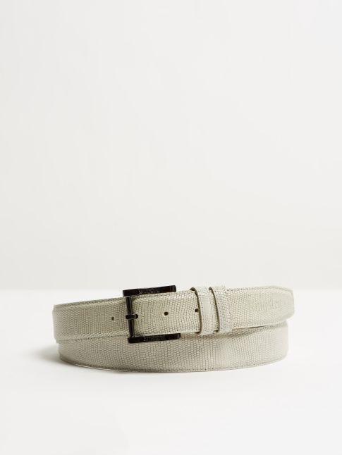 Kingsley Belt lizzard light grey front view
