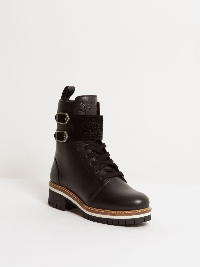 Kingsley Lisbon Swarovski Biker Boots montana black, black front view