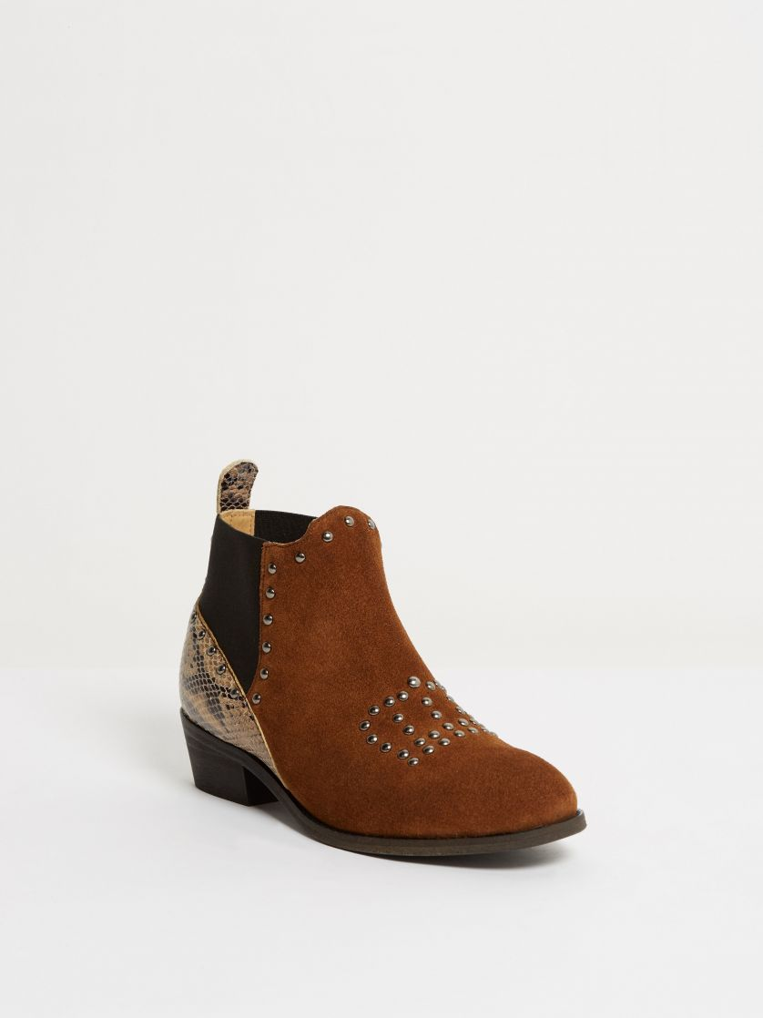 Kingsley Queen Short Boot sensory burned ochre, python special creme front view