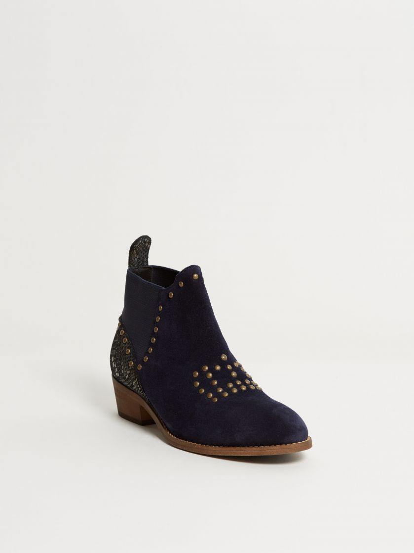 Kingsley Queen Short Boots boa blue sensory blue pilota front view