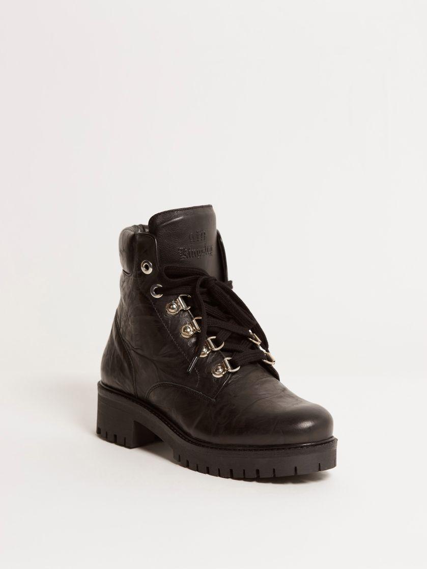 Kingsley Regina 02 Biker Boots glam black front view