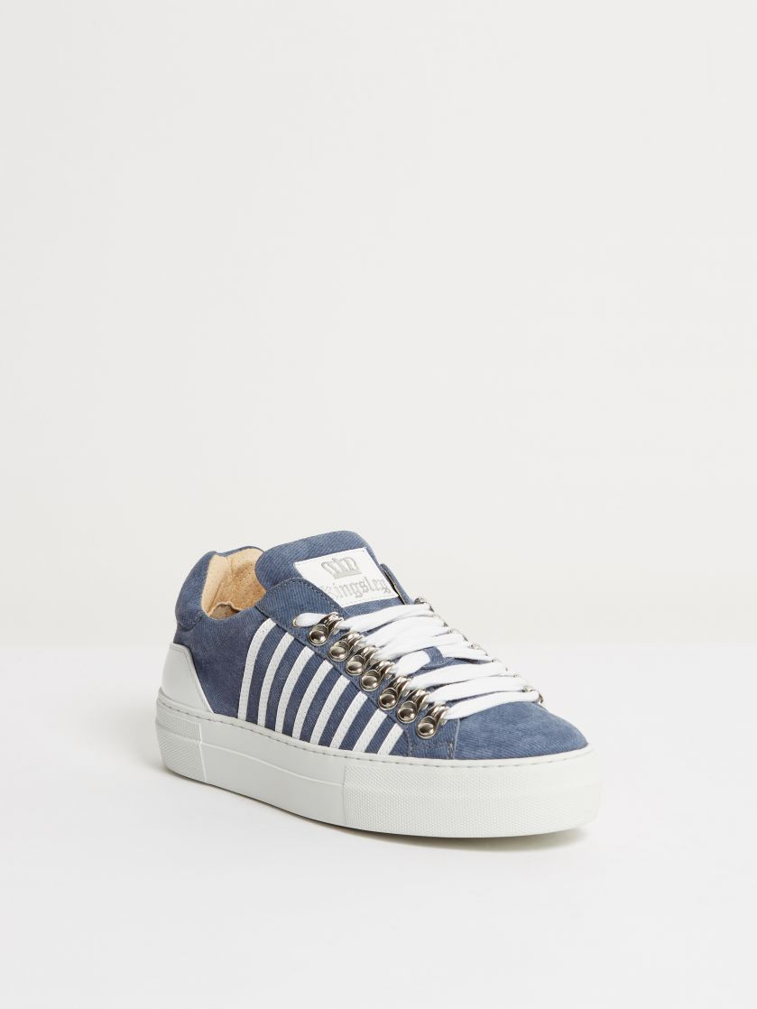 Kingsley Star Sneakers jeans blue, roma white front view