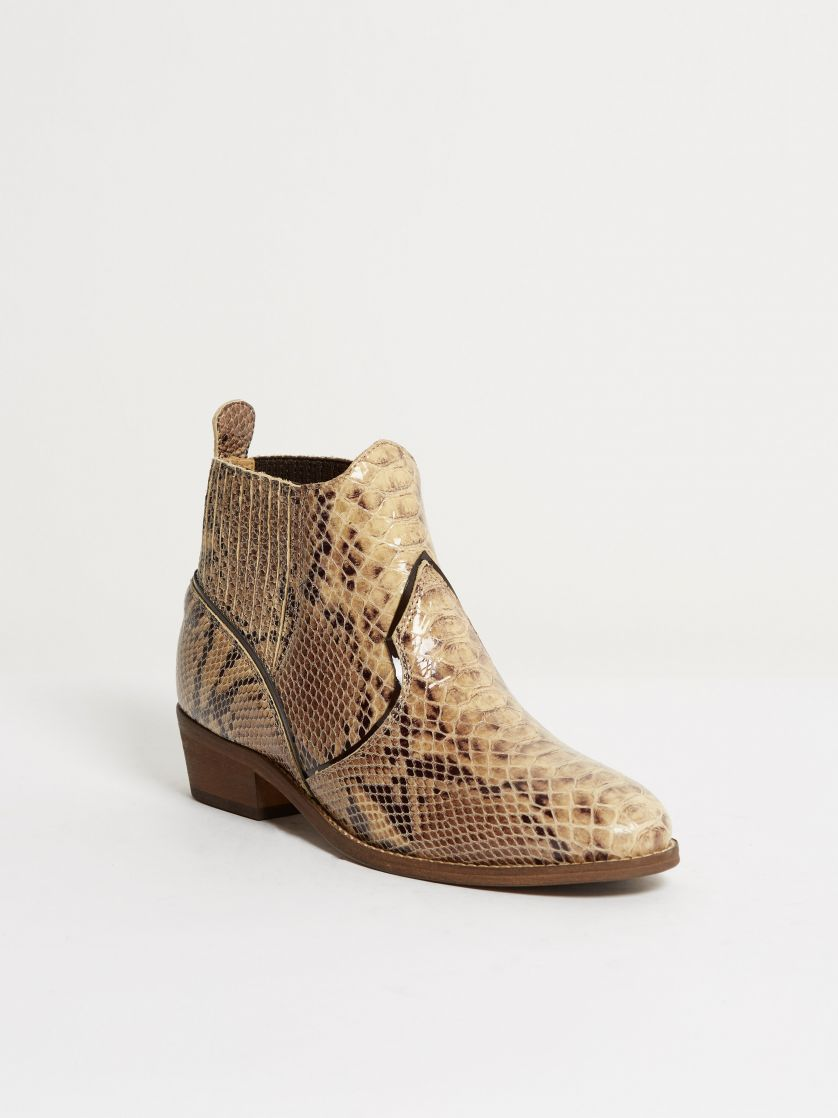 Kingsley Claudia Short Boots python special creme front view