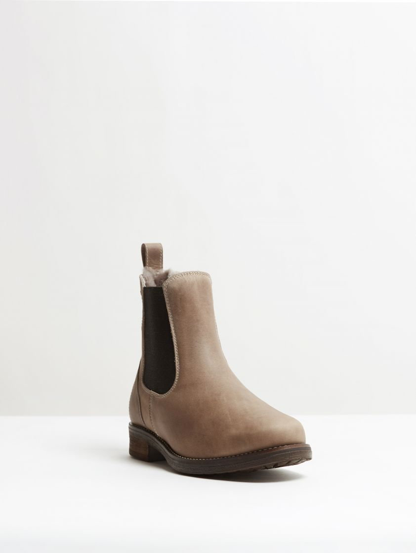 Kingsley Amsterdam Chelsea Boots with Taupe Sheepskin gaucho grey, black front view