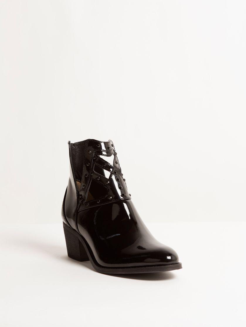 Kingsley Forster Short Boot Swarovski patent black front view