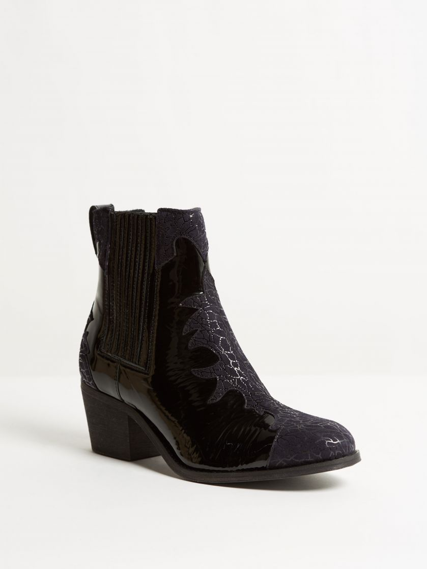 Kingsley Lydia Short Boot patent black black cracked suede front view