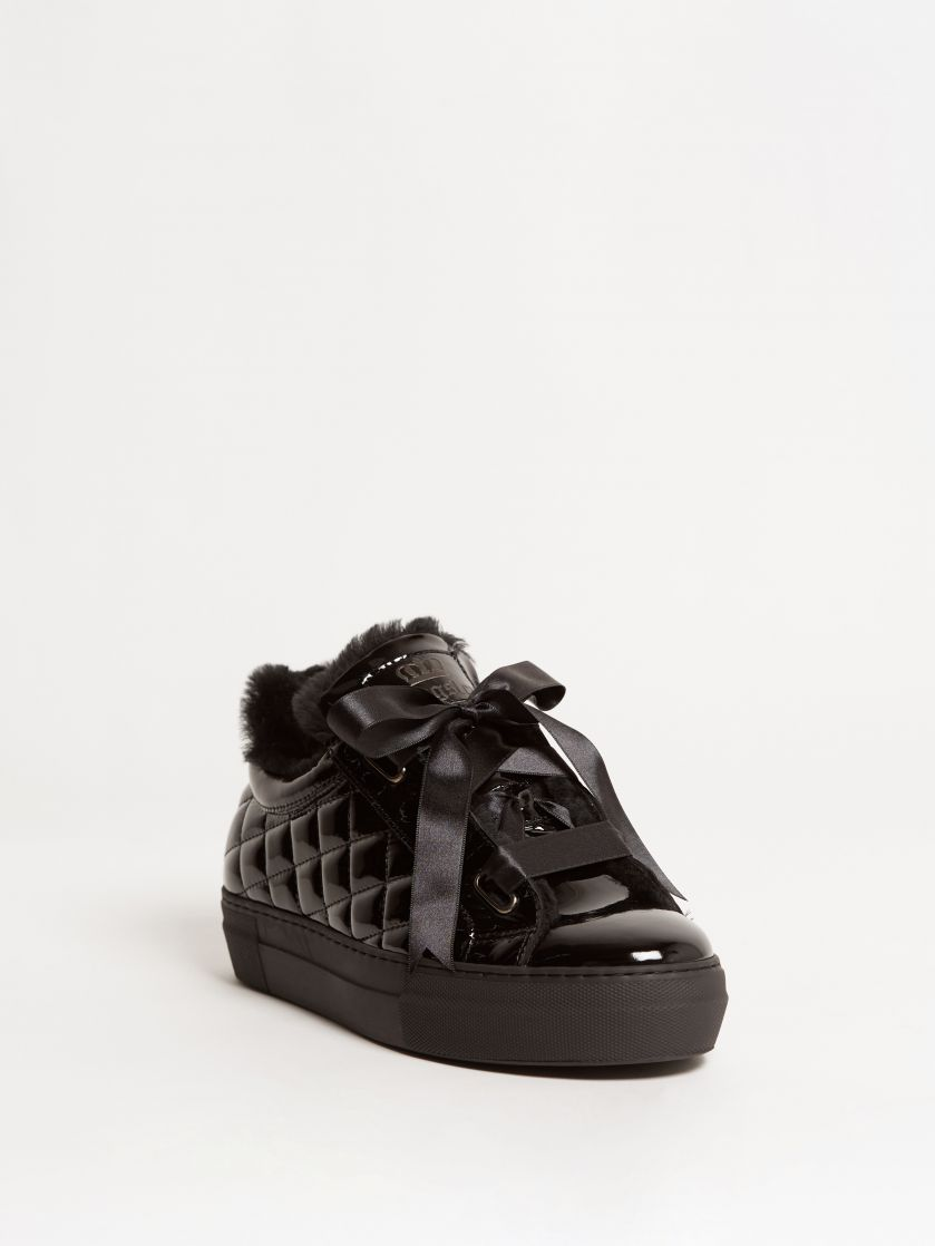 Kingsley Joy Sneakers with Black Sheepskin patent black front view