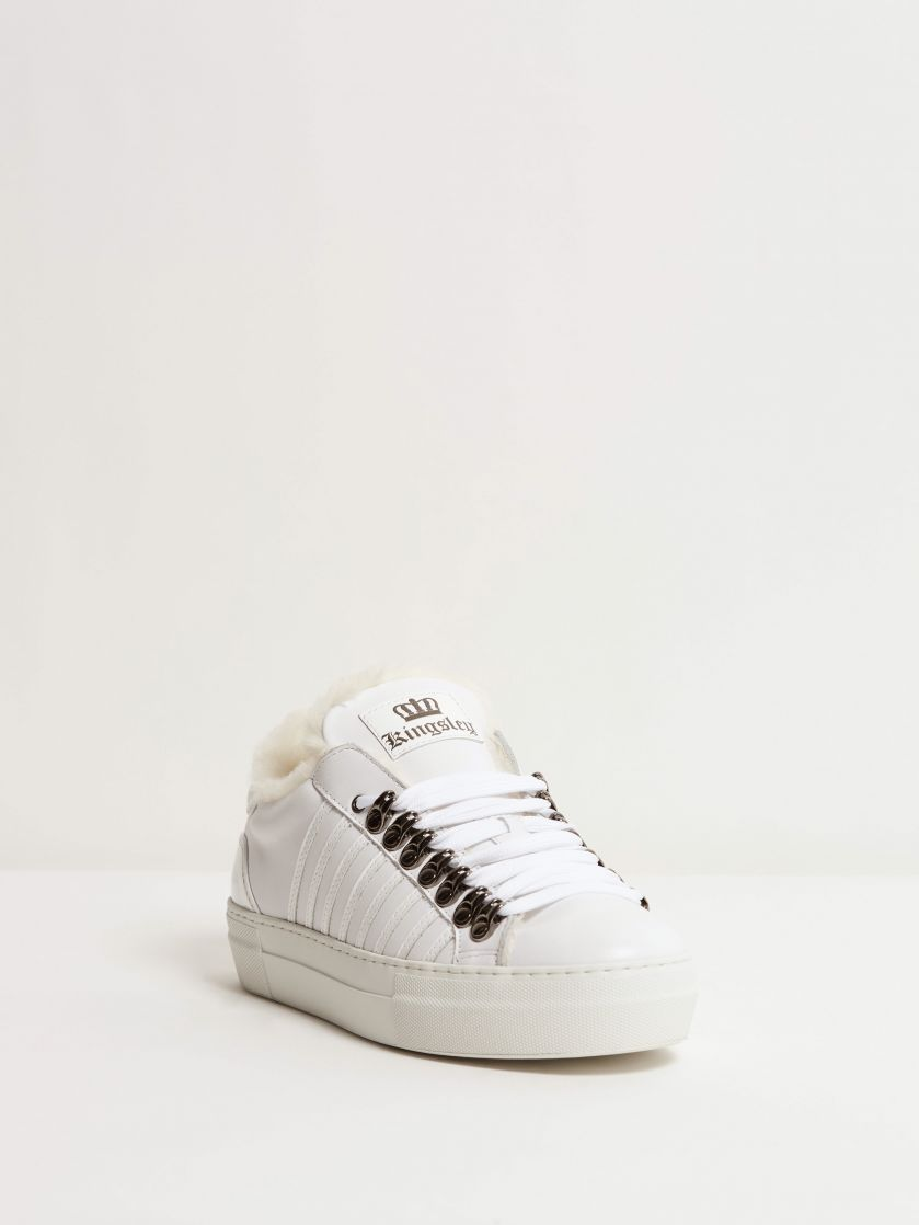 Kingsley Sky Sneakers with Sheepskin white, patent white front view