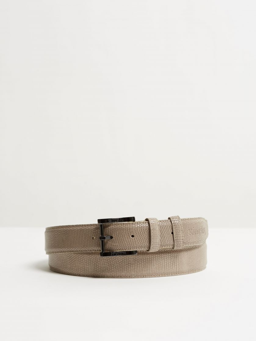 Kingsley belt lizzard taupe front view
