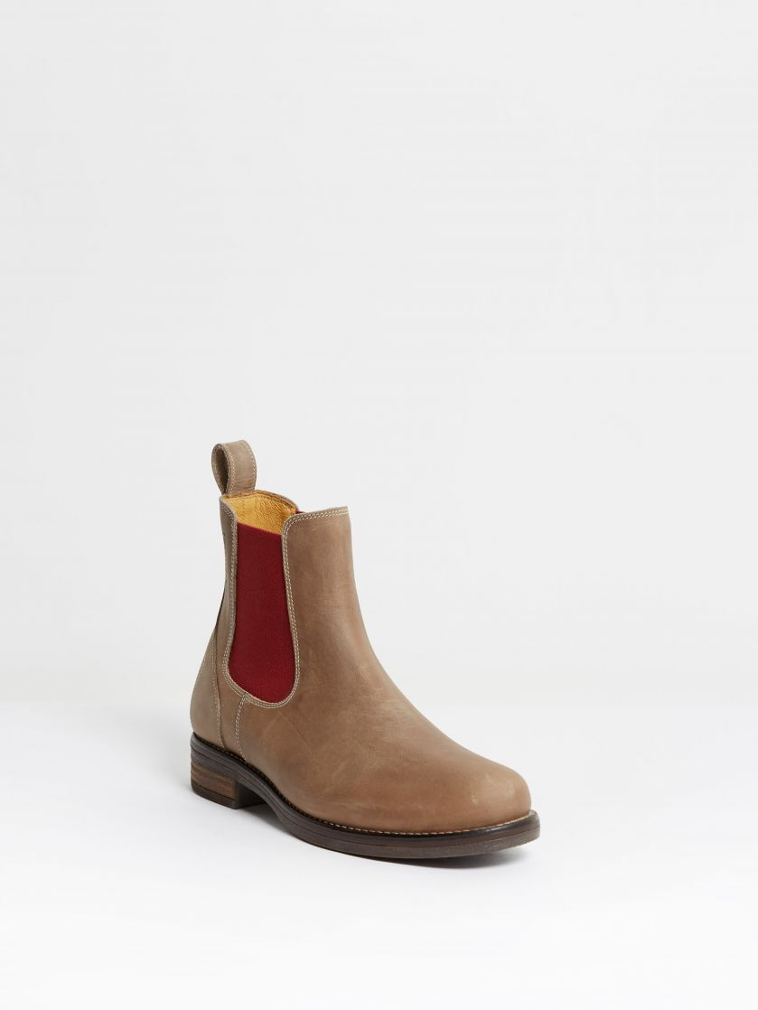 Kingsley Amsterdam Chelsea Boots gaucho grey, red front view